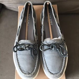Sperry Boat Shoes-Oasis Canal Canvas Grey-Size 8